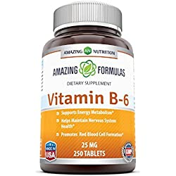 Amazing Nutrition Vitamin B6 Dietary Supplement - 25 mg, 250 Tablets - Supports Healthy Nervous System, Metabolism & Cell Health