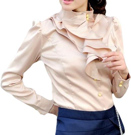 Elegante Manica Lunga Camicia Donna Colore Solido Slim Camicetta con Collo Alto Donne Vintage Vittoriano Stile Camicie con Volant Lavoro Casual Shirts Tops