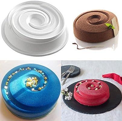 Silicona Redondo Vortex espiral molde pastel decorar sartenes para cocinar y congelación molde