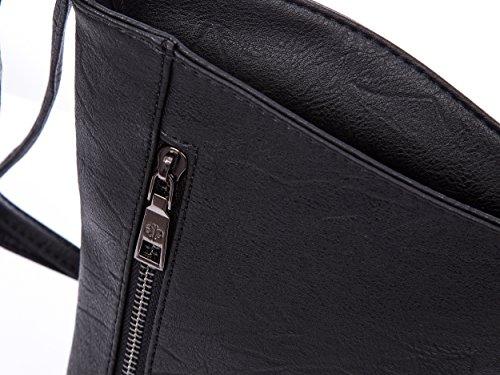 Tasche Damentasche Schultertasche umhängetasche messengertasche kunstleder neu schwarz