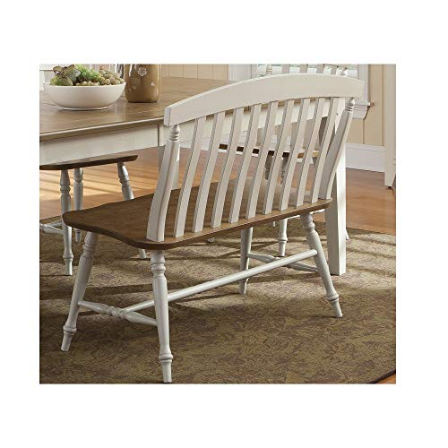 Back Bench Slat (Fresco Two-Tone Transitional Slat Back Dining Bench Bench Dining Wood Seat Room Furniture Rustic Accent Farmhouse Kitchen Svitlife)