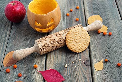 Pumpkins Halloween Rolling Pin 3D cookie stamp, Holiday theme embossing rolling pin, Jack-o'-lantern pattern imprint utensil, engraved cookie roller, embossing cookie stamp