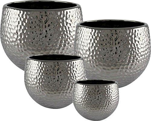 Übertopf Keramik silber hochwertig von Kaheku Ø 12 cm • 4 weitere Größen zur Auswahl (Ø 12 cm 10 cm hoch)