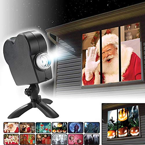 Decoration Exterieur Pour Halloween (Christmas Projector Lights,12 Movies LED Window Projector Lamps for Outdoor/Indoor Christmas Outdoor Garden)