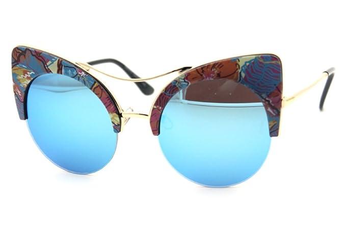 De la Mujer Ronda de medio marco floral Browline Gafas de sol Cat ...