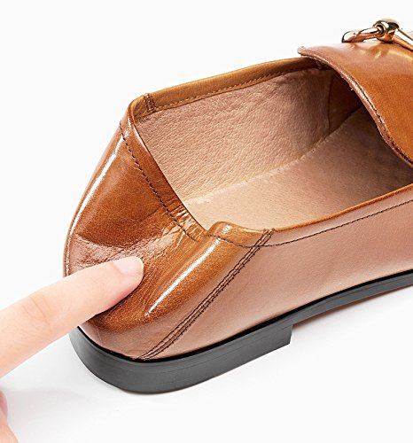Honeystore Womens Penny Loafer Leather Buckle Flats Shoes Brown zmDf0mRUE