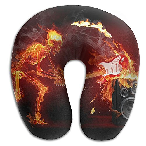 U-Shaped Pillow Neck Shoulder Body Care Skeleton Guitars Fire Rock Health Soft U-Pillow For Home Travel Flight Unisex Supportive -