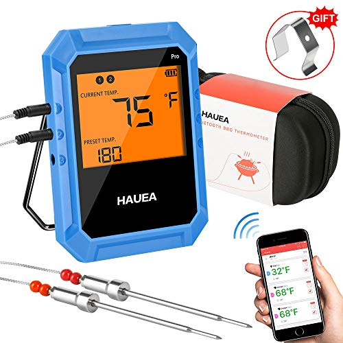 Bluetooth Meat Thermometer, Wireless Meat Thermometer for Grilling with 2 Stainless Steel Probes, BBQ Thermometer for Smoker, Kitchen, Oven, Support iOS & Android (Carrying Case Included)