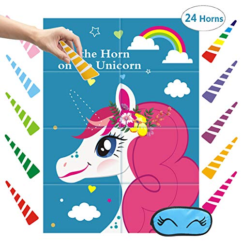 Exqline Pin The Horn On The Unicorn Party Birthday Game Large Unicorn Favor Game Unicorn Party Supplies Decorations Unicorn Gifts for Girls Boys with 24 Rainbow Sticker Horns and -