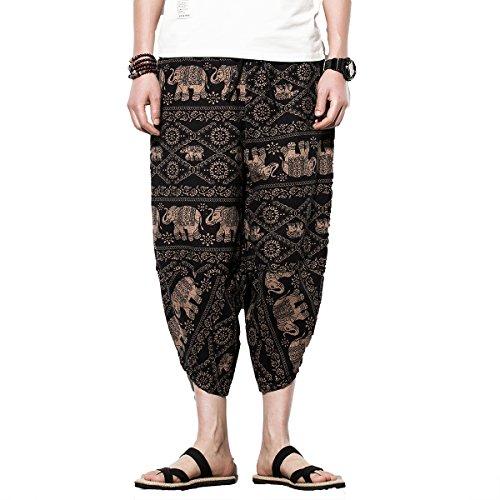 - INVACHI Men's Leisure Cotton Hemp Palazzo Harem Pants - Hippie Yoga Trousers Beach Trunks Bohemia Trousers