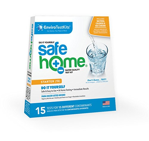 (Safe Home STARTER-15 Water Quality Test Kit - (DIY Testing for 15 Different Contaminants: Bacteria, Nitrates, Hex-Chrome, TDS, Zinc, Chlorine, Copper, pH, Iron, Sulfate, Chloride &)