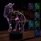 WHATOOK 3D Lamp Unicorn Night Light Touch Table Desk Lamp 7 Color Change,Optical Illusion lamp Led USB Charging Battery Operated light as Christmas Gifts Decor Light for Desk Table Home Office