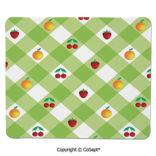 (Gaming Mouse Pad,Fresh Ripe Fruits Summertime Theme with Cherry Strawberry Oranges Decorative,Non-Slip Water-Resistant Rubber Base Cloth Computer Mouse Mat (15.74
