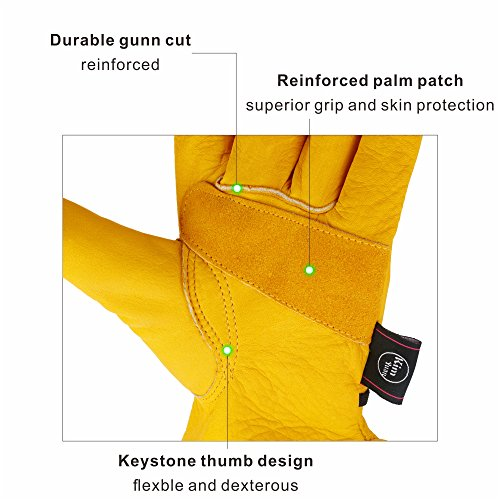 KIM YUAN Leather Work Gloves for Gardening,Yard Work, Farm, Construction, Warehouse, Motorcycle, Men & Women, Elastic Wrist with Palm, Large by KIM YUAN (Image #1)