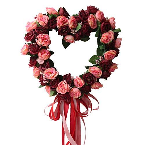 Funpa 14inch Wedding Wreath Artificial Rose Heart Shape Ribbon Door Hanging Wreath (Wreath Red Heart)