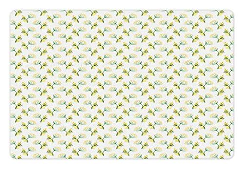 Lunarable Watercolor Flower Pet Mat for Food and Water, Herbal Floral Spring Field Yellow Meadow Corolla Flower Dill Leaves, Rectangle Non-Slip Rubber Mat for Dogs and Cats, Fern Green White