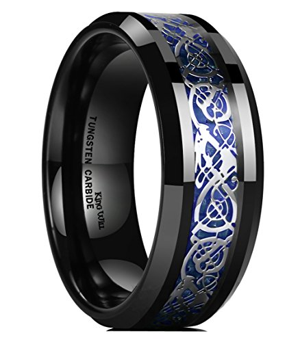 King Will DRAGON Mens 8mm Black Tungsten Carbide Ring Blue Carbon Fiber Celtic Dragon Wedding Band(10)