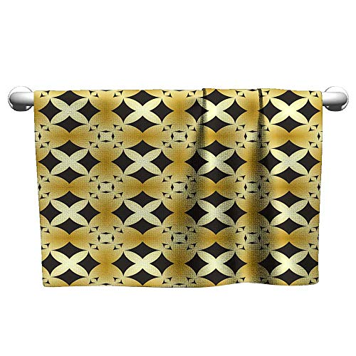 Andasrew Premium Black and Gold Geometric Pattern in Repeat Fabric Print Seamless Background Mosaic Ornament Ethnic Style 18,Towel bar for Glass Shower Door