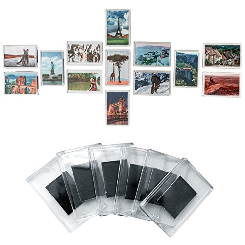 Set of 20 Blank Photo Frame Fridge Magnets by Kurtzy - Quality Clear Acrylic Refrigerator Magnet with Picture Insert Size 7cmx4.5cm - Magnetic Frame Great for Family Photos, art work & Fun for Kids