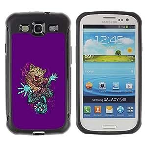 Suave TPU Caso Carcasa de Caucho Funda para Samsung Galaxy S3 I9300 / Wild Cat Skeleton Zombie Art Drawing Feline / STRONG