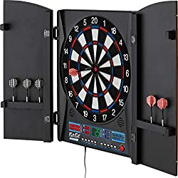 Fat Cat Electronx Electronic Dartboard, Built In Cabinet, Solo Play With Cyber Player, Dual Screen Scoreboard Display, Extended Catch Ring For Missed Darts, Classic Door Look Matches Traditional Decor, 34 Games With 183 Options