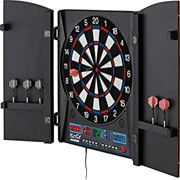 Image of Darts & Equipment Fat Cat Electronx Electronic Dartboard, Built In Cabinet, Solo Play With Cyber Player, Dual Screen Scoreboard Display, Extended Catch Ring For Missed Darts, Classic Door Look Matches Traditional Décor