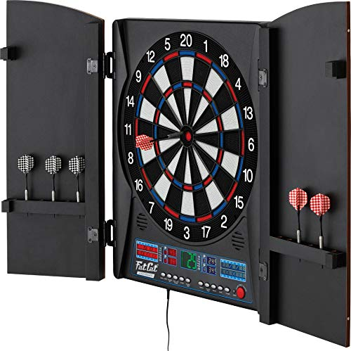 (Fat Cat Electronx Electronic Dartboard, Built In Cabinet, Solo Play With Cyber Player, Dual Screen Scoreboard Display, Extended Catch Ring For Missed Darts, Classic Door Look Matches Traditional Décor)