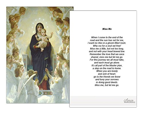 (Funeral Memorial Prayer Cards (50 Cards) FPC1004EN Virgin surrounded by Angels (Select Desired Prayer))