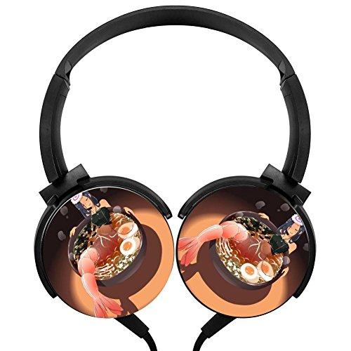 Dinner Ramen Stereo Headphones Lightweight With Mic Over Ear, Running Headsets For Iphone, Ipad, Smartphone And Tv 3.5Mm Black