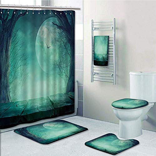 Bathroom 5 Piece Set Shower Curtain 3D Print Customized,Halloween Decorations,Spooky Forest Moon and Vain Branches Mystical Haunted Horror Rustic Decor,Teal,Bath Mat,Bathroom Carpet Rug,Non-Slip,Bath ()