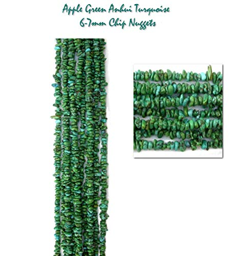 2 Strands of Green Anhui Turquoise 6-7mm Chip Nuggets for Jewelry Making Projects, 32 inches Total.