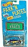 hot wheels license plate - Hot Wheels - Park 'N Plates - Thunderstreak/Kraco Stereo #18 (Dark Blue/Yellow) Race Car Replica w/Bonus Collectible License Plate Garage