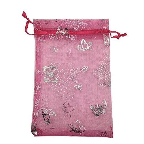 (YIJUE 100pcs 4x6 inches Drawstrings Organza Gift Candy Bags Wedding Favors Bags (Rose Red with Silver Butterfly))