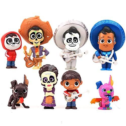 Coco Movie Figures 8pcs Cake Topper Toys, Pixar Miguel Riveras Characters Figure Toys Collectors Miguel Ernesto de la Cruz Hector Toy]()