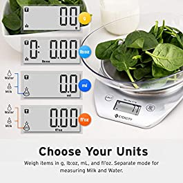 Etekcity Food Scale with Bowl, Digital Kitchen Weight Grams and Ounces for Cooking and Baking, 1g Increment, Large LCD…