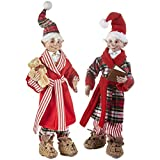 Set of 2 Posable Elf Ready for Bed Christmas Elfs