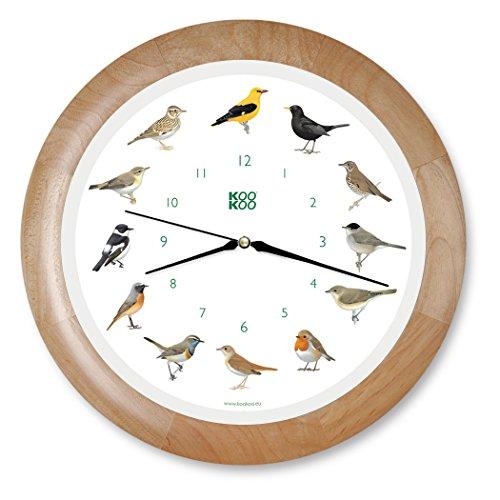 KOOKOO Singvögel Wood, Singing birdclock Includes 12 Genuine Original Field Recordings from Native Songbirds, Large 34cm/13,4in Wall Clock with Light Sensor (Bird Chime Clock)