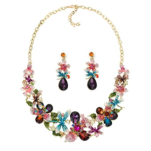 Yuhuan Women Costume Jewelry Crystal Statement Necklace and Earrings Sets Chunky Jewelry Set - Costume Jewelry Crystal Necklaces