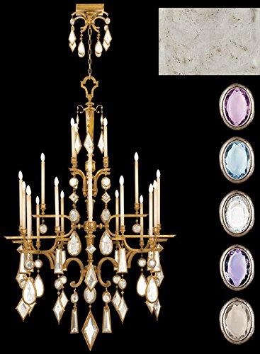 - Fine Art Lamps 714040-1, Encased Gems Crystal Chandelier Light, 480 Watt, Silver Leaf