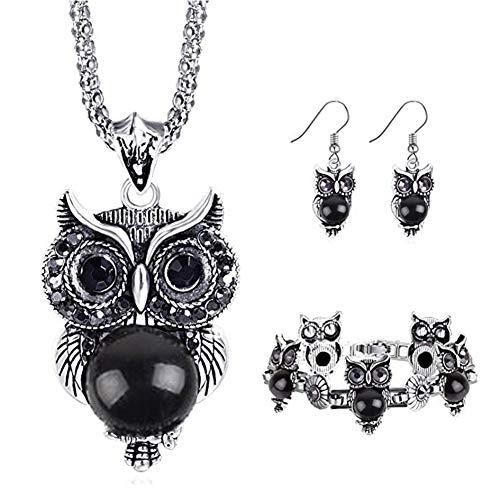 Fashion Style New Earrings Latest (Miraculous Garden Girls Vintage Owl Jewelry Sets Silver Retro Turquoise Gemstone Owl Pendant Necklace Drop Earrings Charm Bracelet Set (Black))
