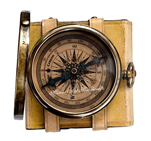 ''Robert Frost Poem'' Best Christmas Gift Engraved Brass Compass with Embossed Needle & Leather Case. C 3240