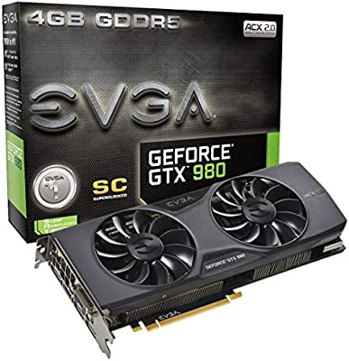 EVGA 04G-P4-2983-KR - Tarjeta gráfica (GeForce GTX 980 SC, ACX 2.0, 4 GB, GDDR5, 256 bit), Color Negro