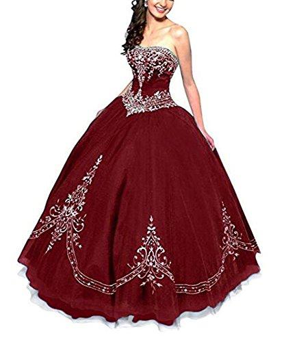 Robe Longue Robes De Bal Quinceanera De Vin Rouge De Boule De Cristal Broderie Des Femmes Angela