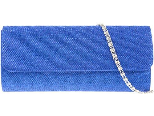 Girly HandBags Woven Clutch Bag Elegant Fashion Shimmer Blue