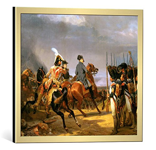 "Framed Art Print: Horace Vernet Bataille d Iéna 14 octobre 1806"" - Decorative Fine Art Poster, Picture with Frame, 17.7x15.7 inch / 45x40 cm, Gold Brushed"
