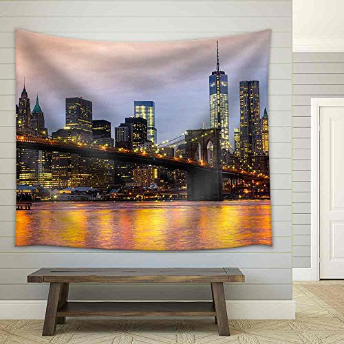 Manhattan Skyline at Sunrise New York City USA Fabric Wall