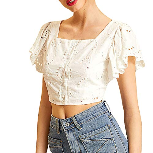 Kimianan Openwork Embroidered Ruffle Sleeve Square Collar Crop Top T-Shirt Embroidery Butterfly Sleeve Blouse White