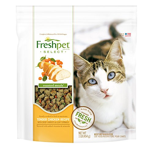 Freshpet Select Roasted Meals for Cats, Chicken With Carrots and Spinach, 1 lb