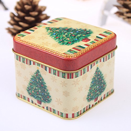 Smartcoco Christmas Cartoon Storage Candy Tin Box Santa Claus Snowman Christmas Tree Tea Storage Organizer Box Xmas Home - Santa Claus Tin