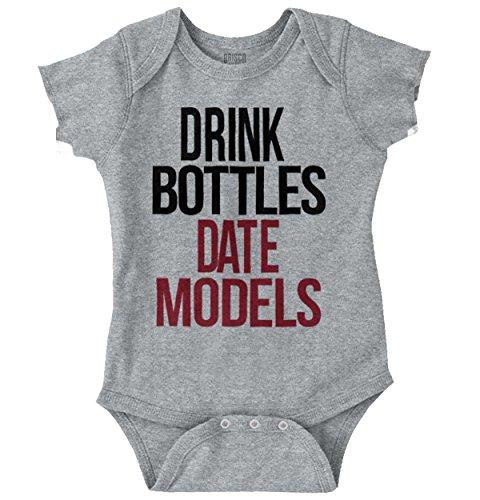 Brisco Brands Drink Bottles Date Model Funny Shirt Cool Newborn Flirt Baby Romper Bodysuit